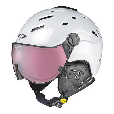 CP CAMURAI SKIHELM - PEARL WHITE SHINY - DL POLARIZED/VARIO VISIER Cat. 2-3 - (☁/☀/❄)