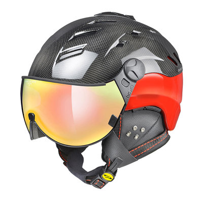 CP CAMURAI carbon SKIHELM - glänzend rot - Photochrom (❄/☁/☀) Visier Multi Color