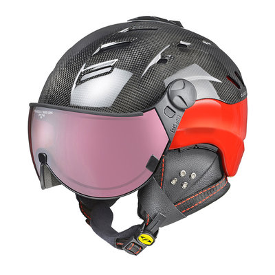 CP CAMURAI SKIHELM - DARK CARBON SHINY RED - DL POLARIZED/VARIO VISIER CAT. 2-3 - (☁/☀/❄)