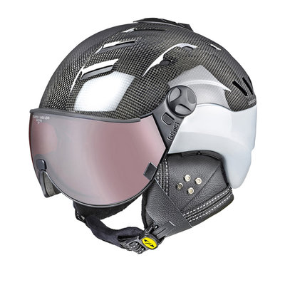 CP CAMURAI SKIHELM - DARK CARBON SHINY WHITE - DL POLARIZED/VARIO VISIER CAT. 2-3 - (☁/☀/❄)