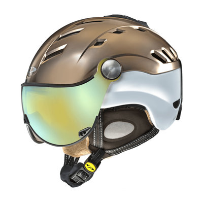 CP CAMURAI CRS SKIHELM - BRONCE SATIN WHITE SHINY - DL VARIO MULTICOLOUR MIRROR VISIER Cat.2-3 - (☀/☁/❄)