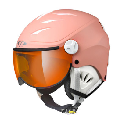 CP CAMULINO SKIHELM KINDER - QUARZ PINK - ORANGE SILVER MIRROR VISIER CAT. 2 - (☁/☀/❄)