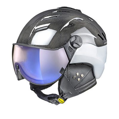 CP CAMURAI SKIHELM - CARBON SHINY WHITE - DL VARIO BLUE MIRROR VISIER - CAT.1-3 (☁/☀/❄)