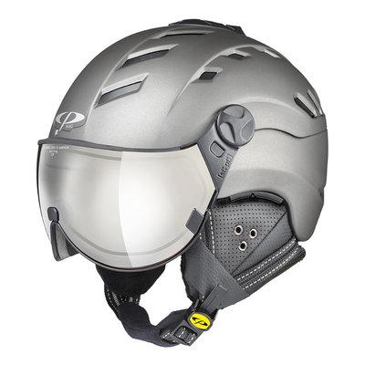 Skihelm mit Visier Grau - CP Camurai Titan - Photochrom Verspiegelt Visier (☁/☀/❄)