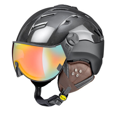 CP CAMURAI SKIHELM - DARK CARBON SHINY BLACK - DL VARIO  MULTICOLOUR MIRROR VISIER CAT.2-3 - (☁/☀/❄)