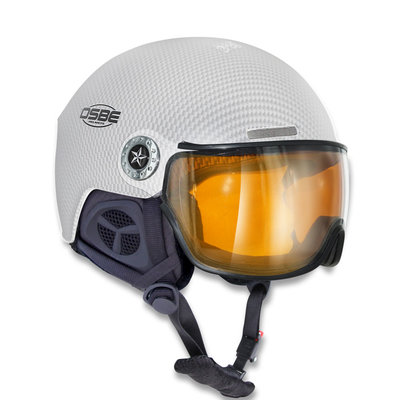 OSBE NEW LIGHT R SKIHELM - CARBON LOOK WHITE -  VISIER CAT. 1-3 (☁/☀/❄)