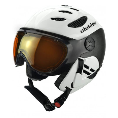 SLOKKER BALO SKIHELM - WHITE - PHOTOCHROMIC POLARIZED VISIER CAT. 1-2 - (☀/☁)