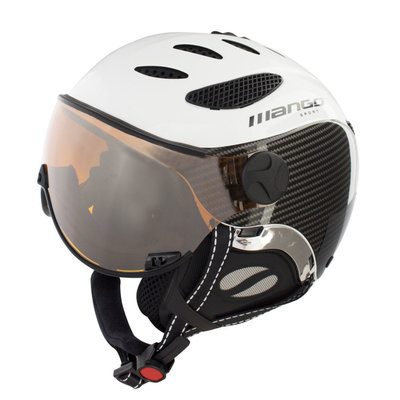MANGO CUSNA FREE SKIHELM - BLACK CARBON - ORANGE MIRROR VISIER CAT. 2 - (☁/☀/❄)