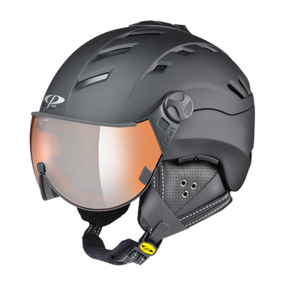 CP CAMURAI SKIHELM - BLACK - ORANGE SILVER MIRROR VISIER CAT. 2 - (☁/☀/❄)