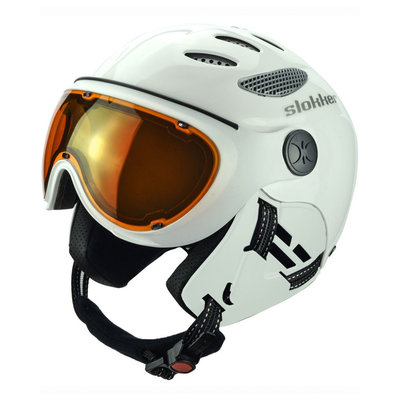 Skihelm Slokker  raider  - white - photochromic polarized Vizier  (☁/☀)