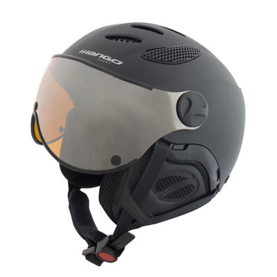 Skihelm Mango cusna free - black - orange mirror cat.2 visier (☁/☀/❄)