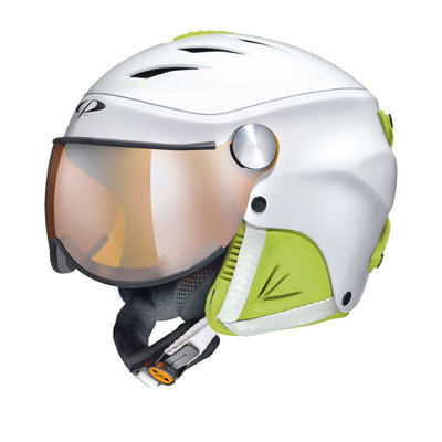 CP Camulino Skihelm mit visier Kids Wit-Lime 53-55
