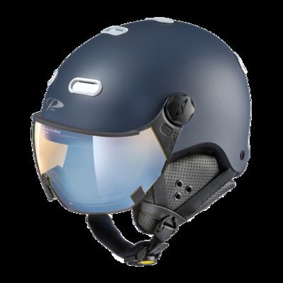 CP Helme mit Visier Blau Weiss  - Cp Carachillo - Photochrom Polarisiert Verspiegelt Visier  (☁/❄/☀)