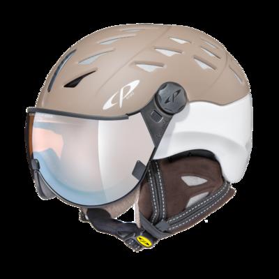 CP Helm mit Visier cuma cashmere - braun/weiss - Photochrom/Verspiegelt ☁/❄/☀