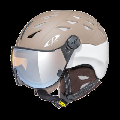 CP Helm mit Visier cuma cashmere - braun/weiss - Photochrom/Polarisiert/Verspiegelt ☀