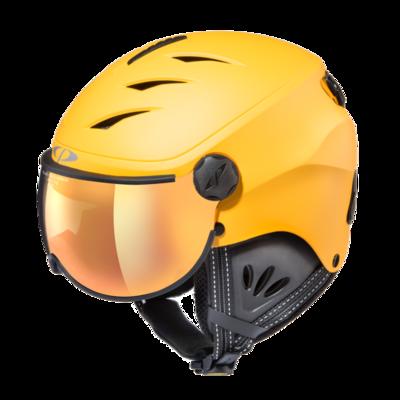 Skihelm mit visier cp camulino - flash gold mirror - ❄/☁/☀ gelb, schwarz