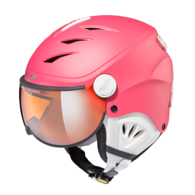 Skihelm mit visier cp camulino - orange silver mirror - ☁/❄/☀ pink, weiss