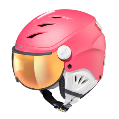 Skihelm mit visier cp camulino - flash gold mirror - ❄/☁/☀ pink, weiss