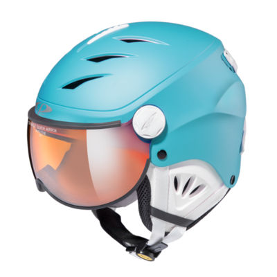 Skihelm mit visier cp camulino - orange silver mirror - ☁/❄/☀ blau, weiss