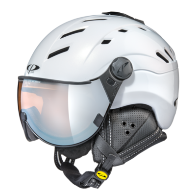 CP CAMURAI Carbon SKIHELM - PEARL WHITE SHINY - dl vario lens br pol wh mirror Cat. 3 - (❄)