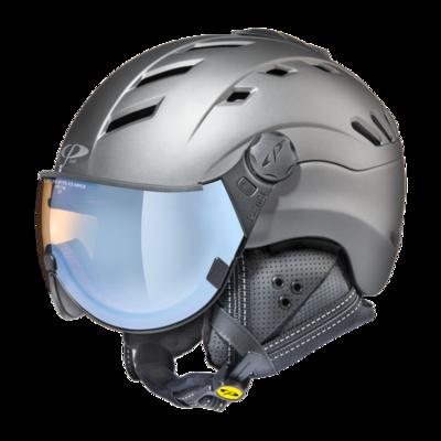 Skihelm mit Visier Grau - CP Camurai Titan - Photochrom Polarisiert Verspiegelt Visier (☁/☀/❄)