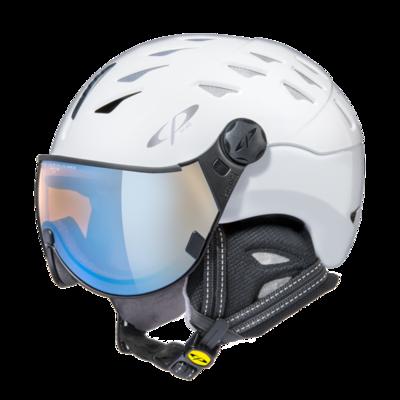 CP Helm mit Visier cuma - weiss - Photochrom/Polarisiert/Verspiegelt ☁/❄/☀
