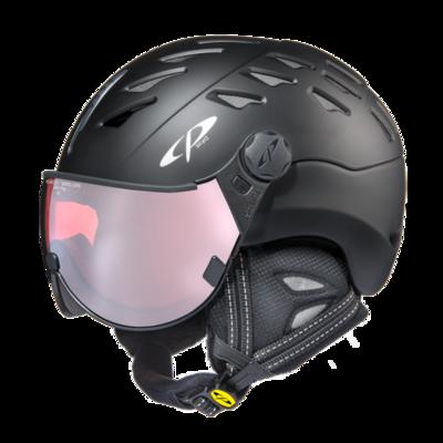 CP Helm mit Visier Schwarz - Cp Cuma - Photochrom Polarisiert Visier ☁/❄/☀