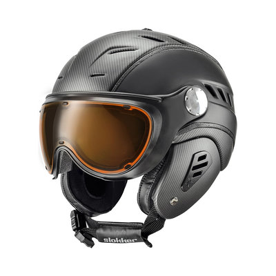 SLOKKER BAKKA SKIHELM - CARBON BLACK - PHOTOCHROM POLARISIERT VISIER - Cat.1-2 (☀/☁/❄)