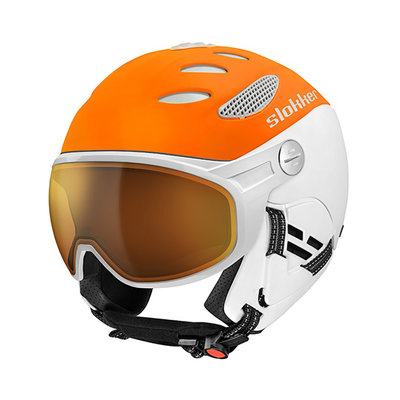 SLOKKER BALO SKIHELM MIT VISIER - ORANGE -PHOTOCHROM POLARISIERT VISIER CAT.1-2 (☁/☀/❄)