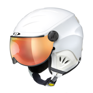 CP CAMULINO SKIHELM - WHITE SHINY - ORANGE VIZIER CAT. (2 ☁/☀) skihelm kind-kinder skihelm - kinderskihel