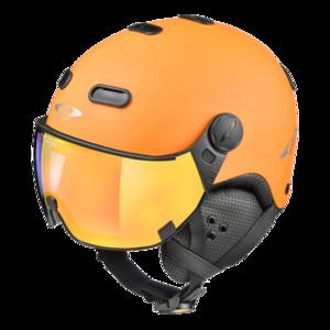Snowboard helm met Vizier CP Carachillo_orange-black_flashGold-mirror