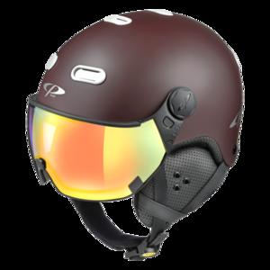 Snowboard helm met Vizier CP Carachillo brown-white Dl Vario Lens Multicolour Mirror