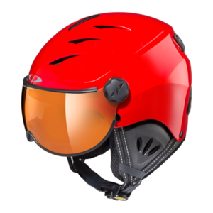 Skihelm met Vizier Camulino - Red Shiny / Black  - Orange Silver Mirror