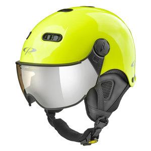CP Carachillo XS skihelm fluo geel glimmend - kinder skihelm met spiegel vizier - dames skihelm met vizier - kinder ski