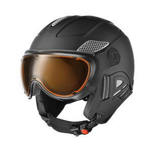 SLOKKER RAIDER PRO SKIHELM - BLACK - ORANGE PHOTOCHROMIC POLARIZED vizier CAT.2 - (☀/☁)