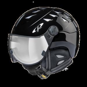 Helm Cuma black shiny silver Mirror