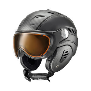 SLOKKER BAKKA SKIHELM - BLACK BLACK - ORANGE PHOTOCHROMIC POLARIZED VIZIER (CAT. 2 - ☁/☀/❄)